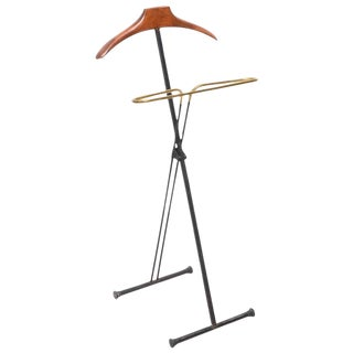 Mid-Century Modern French Wood and Brass Men's Valet Stand, Coat Stand