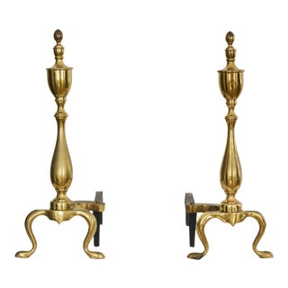 Antique Federal Polished Brass Andirons - Pair