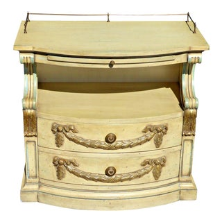 Vintage Karges French Provincial Carved Cream & Gold Gilt Nightstand