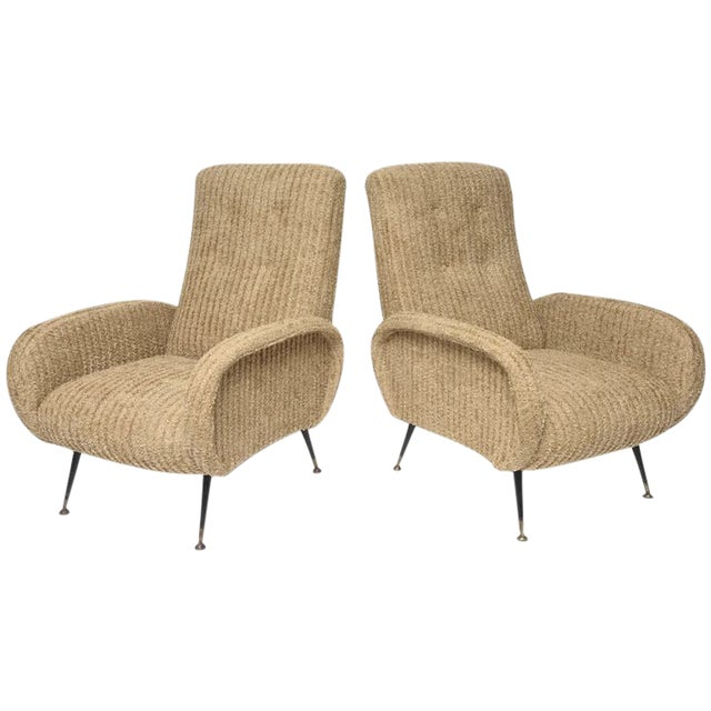 Mid-Century Italian Lounge Chairs with Original Metal and Brass Legs - Image 1 of 10