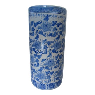 Vintage Blue & White Chinoiserie Umbrella Stand