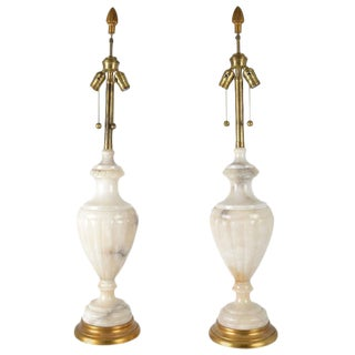 Large Urn Form Alabaster Lamps - A Pair