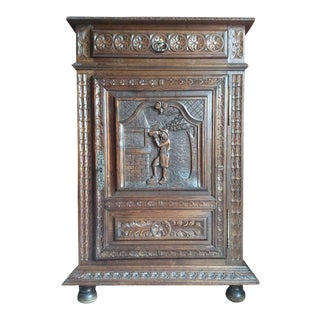 French Oak Carved Cabinet