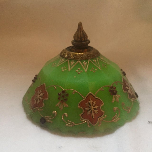 Image of Moroccan Gilted Jadeite Glass Hanging Votive