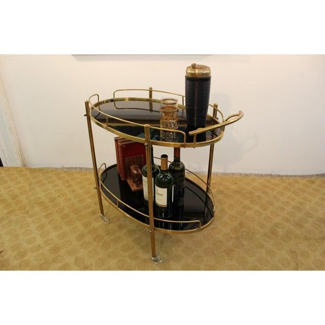 Image of Mid-Century Modern Black Glass & Brass Bar Cart