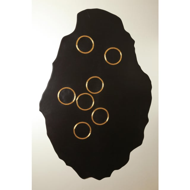 Chance of Seven by Anita Carnell - gold embroidered leather wall hanging - Image 2 of 3