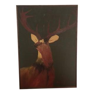 Wood Framed Deer Painting