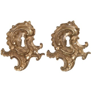 Vintage French Gilded Bronze Keyhole Plates - Pair