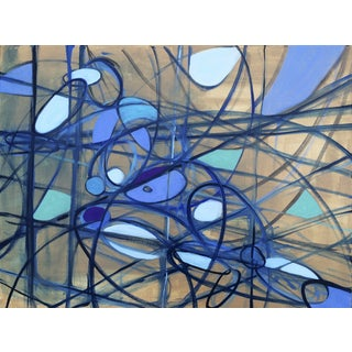 Blue Figure: Abstract Expressionist Oil Painting