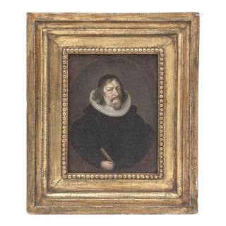Diminutive Dutch Portrait in Gilt Wood Frame