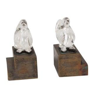 1930s Glass Bird Bookends, Pair