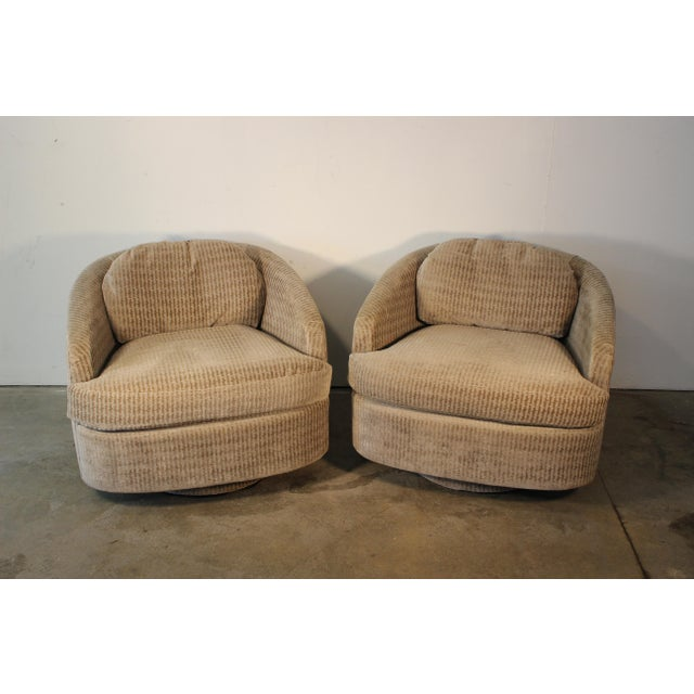 Milo Baughman for Thayer Coggin Swivel Lounge Chairs- A Pair - Image 5 of 11