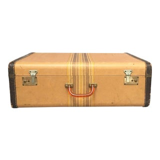 Large Vintage Herringbone Stripe Suitcase With Bakelite Handle