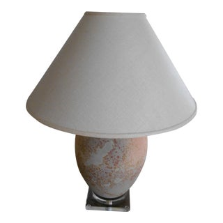 Lucite & Porcelain Table Lamp