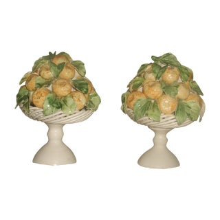 Italian Porcelain Lemon Topiaries - A Pair
