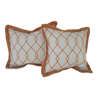 Cream & Orange Embroidered Pillows - A Pair