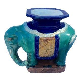 Vintage Ceramic Elephant Garden Seat Stool