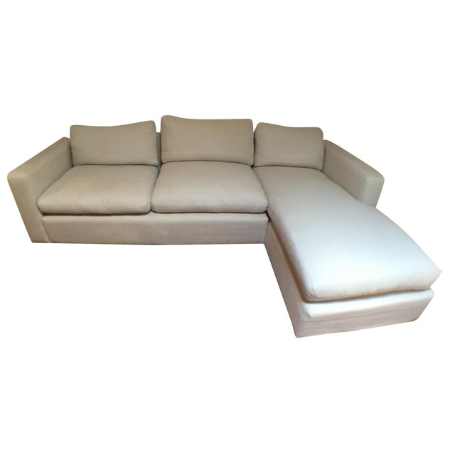 Modern Cotton/Linen Blend Couch with Chaise - Image 1 of 7