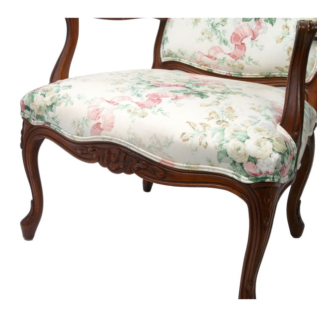 Hollywood Regency-Style Wood Arm Chair - Image 7 of 10