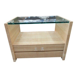 Grasscloth Glass Top Side Table