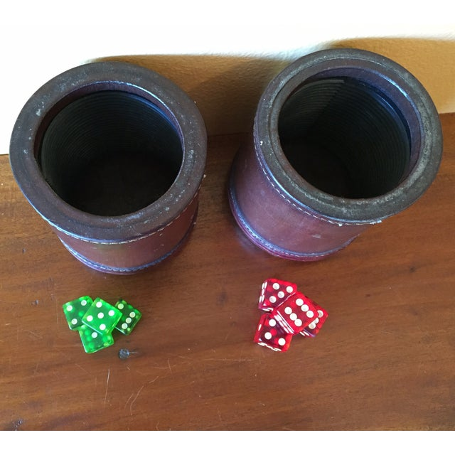 Leather Dice Cups with 8 Bakelite Dice - A Pair - Image 7 of 7