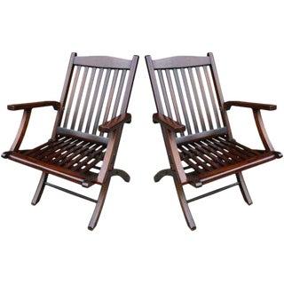 Mahogany Folding Deck Chairs - A Pair