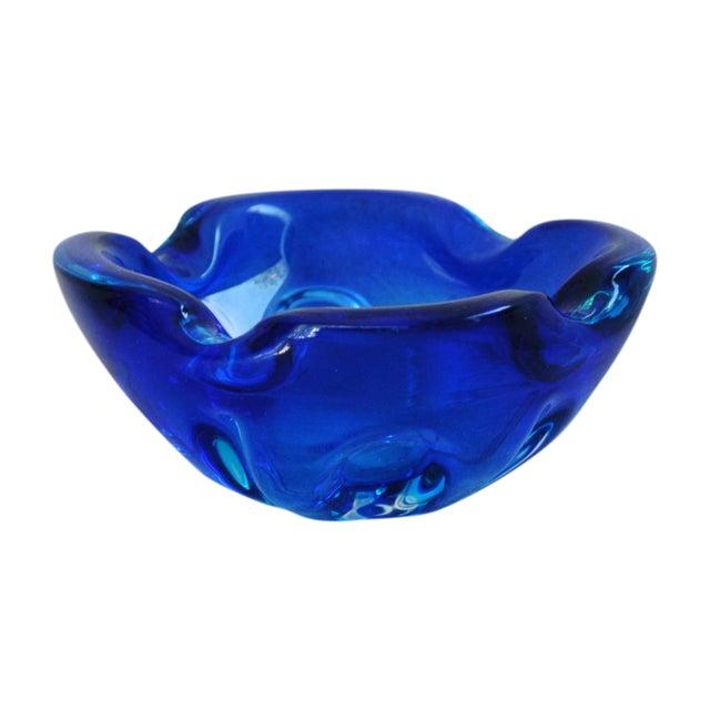 Mid-Century Azure Blue Murano Art Glass Dish - Image 1 of 8