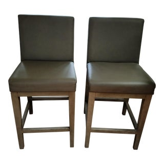 Restoration Hardware Morgan Leather Counter Stool - A Pair