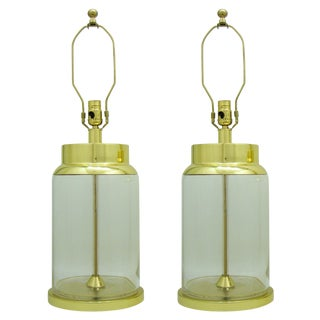 Brass Italian Mid-Century Glass Lamps - a Pair