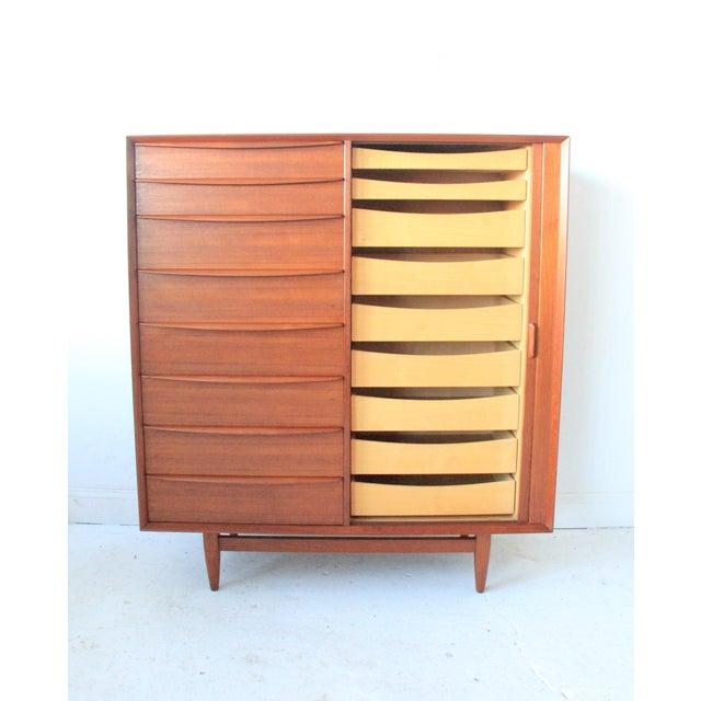 Image of Vintage Falster Mid-Century Modern Teak Highboy Dresser