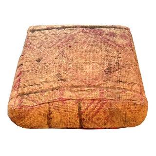 Vintage Moroccan Carpet Pouf Ottoman