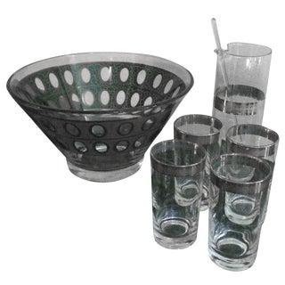 Vintage 9 Piece Glass Cocktail Set