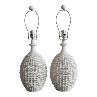 Arteriors Blanc De Chine Style Porcelain Table Lamps - A Pair