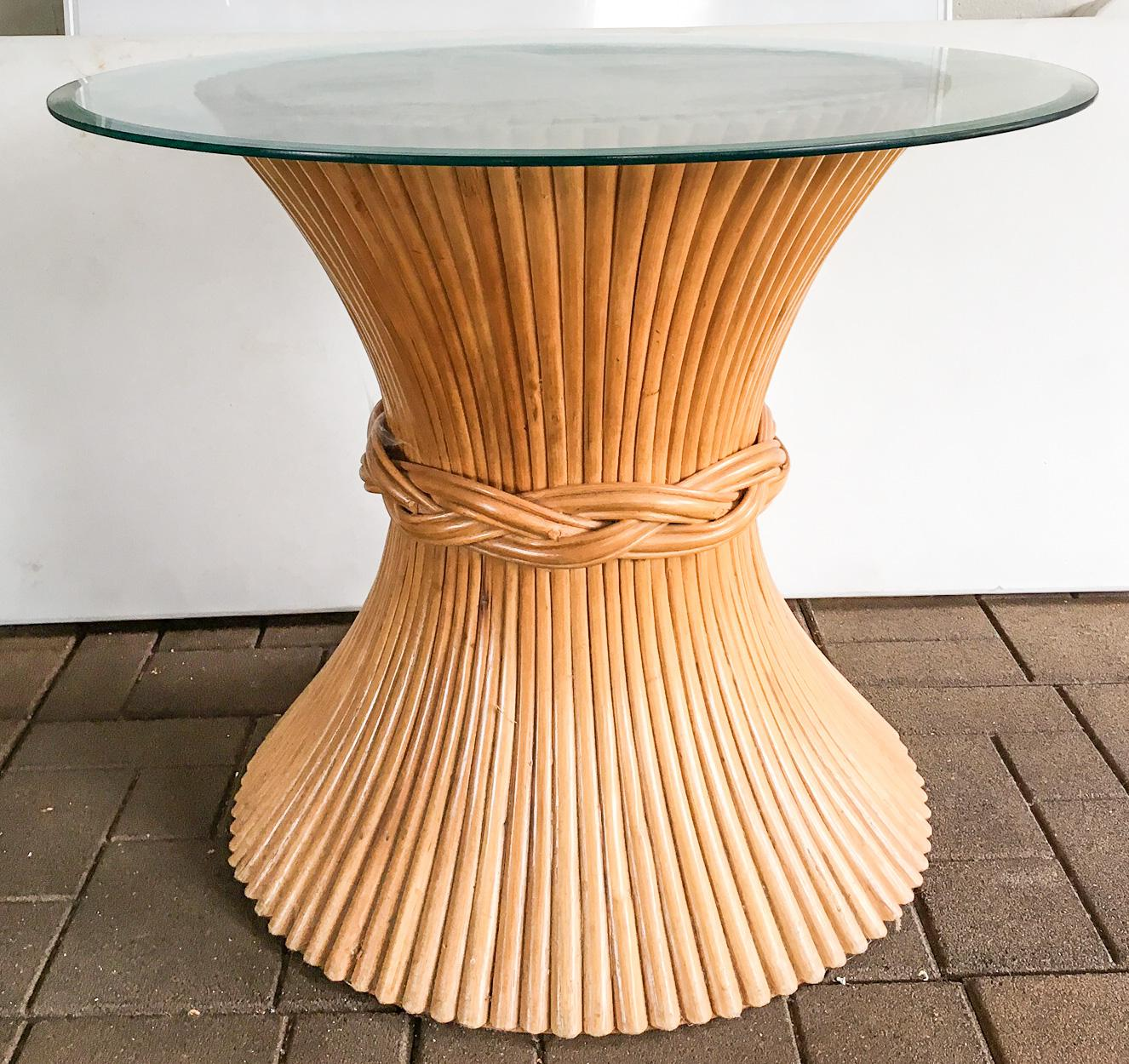 McGuire Round Wheat Sheaf Dining Table   Image 3 Of 6