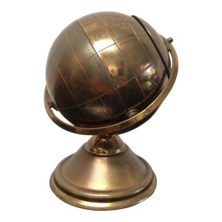 Vintage Brass Globe Cigarette Box