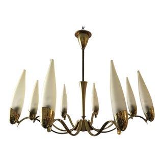 Stilnovo Eight-Arm Brass and Glass Chandelier