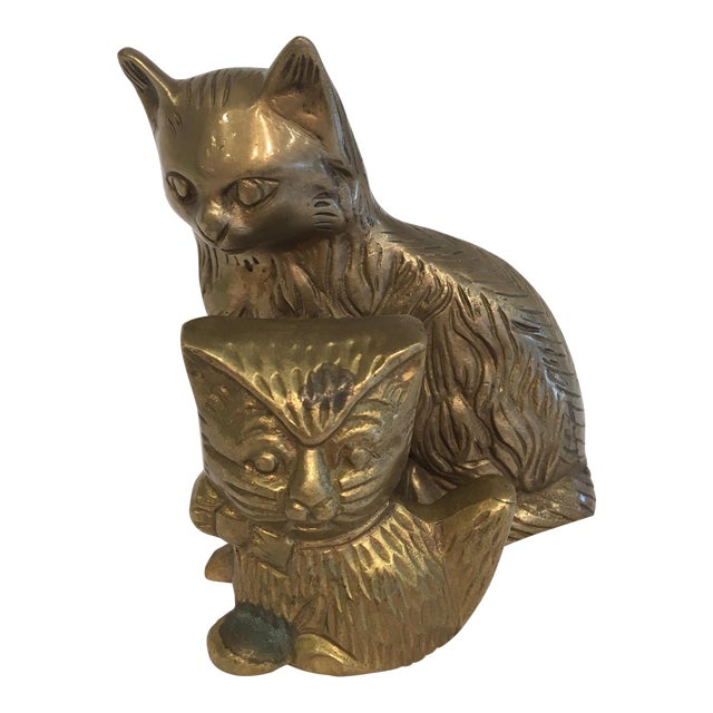 Image of Vintage Brass Cat Figures - A Pair