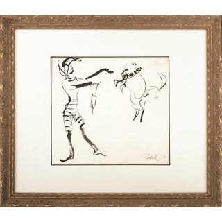 French Pen & Ink Abstract Circus Dog 1941