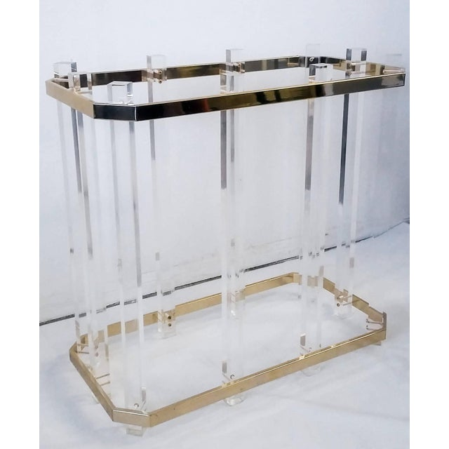 Vintage 1970s Acrylic & Brass Dining Table - Image 2 of 3