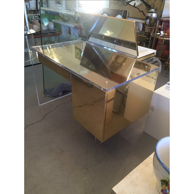 Vintage 1970s Lucite & Brass Desk - Image 8 of 10