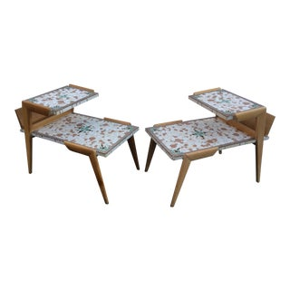 Mid-Century Mosaic Tile End Tables - A Pair
