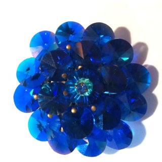 1960s Blue Crystal Chip Rivoli Brooch with Flower