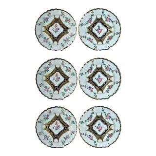 Set of Six Chelsea Porcelain Botanical Dessert Plates
