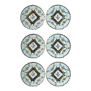 Set of Six Chelsea Porcelain Botanical Dessert Plates