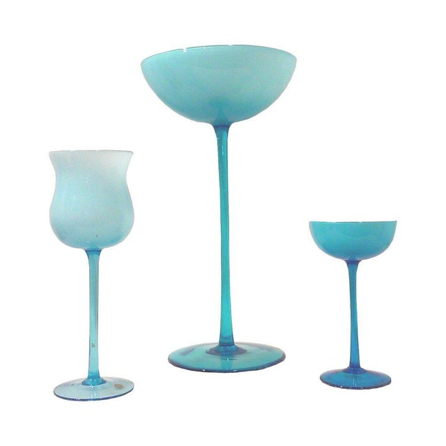 Carlo Moretti Blue Cased Glass Tall Compote Vases - Set of 3 - Image 1 of 4