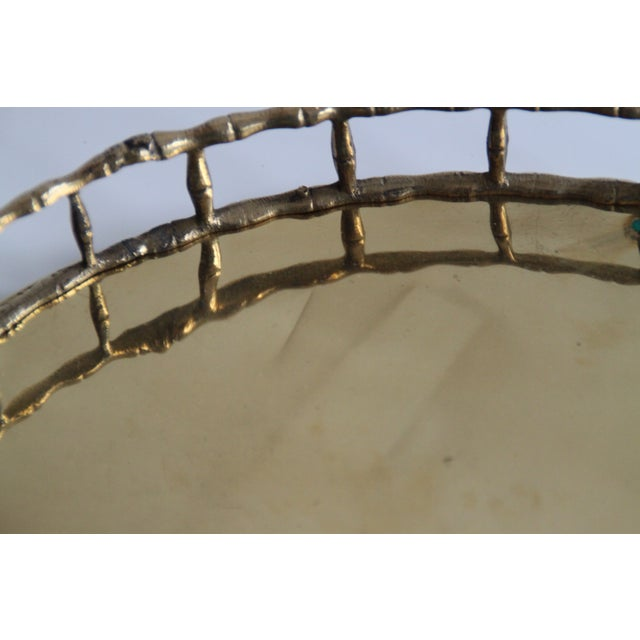 Oval Brass Faux Bamboo Tray - Image 4 of 5