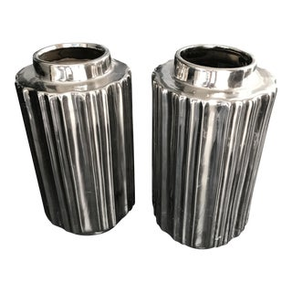 Industrial Style Chrome Plated Ceramic Ribbed Vases- A Pair
