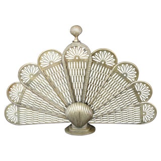 Brass Sea Shell Folding Fireplace Screen