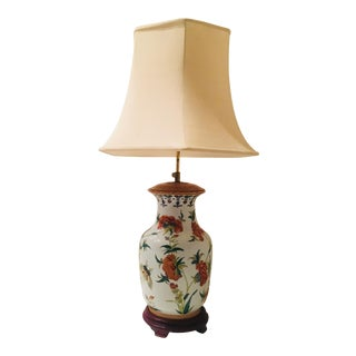 Vintage Chinoiserie Hand Painted Ginger Jar Lamp