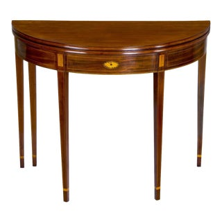 Inlaid Mahogany Hepplewhite Demi-Lune Card Table with Five Legs